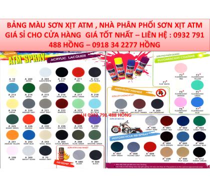 Bảng Màu Sơn Phun Xịt ATM -Hình Ảnh Sơn Phun Xịt Cầm Tay ATM Spray